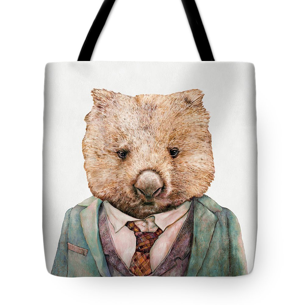 Wombat Tote Bag featuring the painting Wombat by Animal Crew