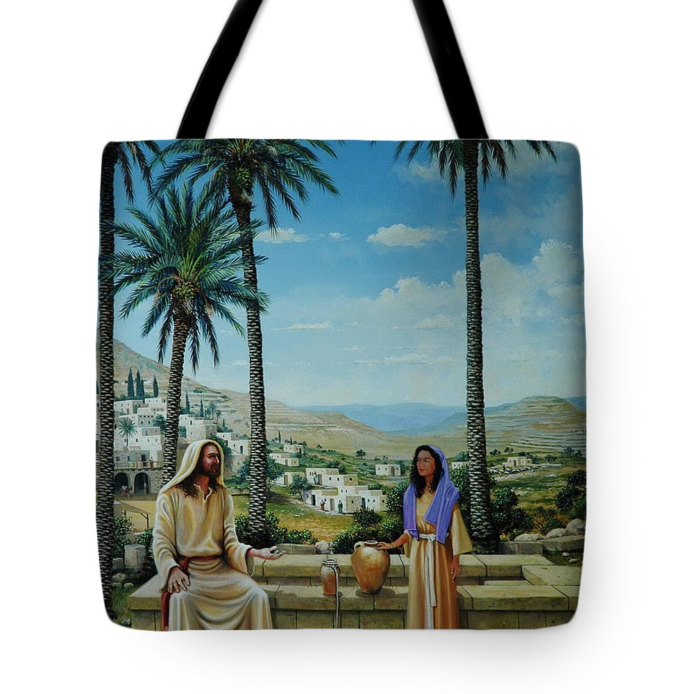 Jesus Tote Bag featuring the painting Women At The Well by Michael Nowak