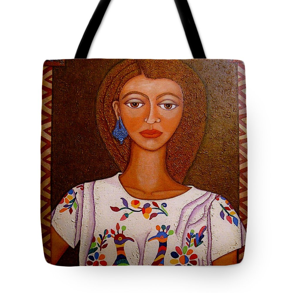Woman Tote Bag featuring the painting Women Below And Beyond The Sea by Madalena Lobao-Tello