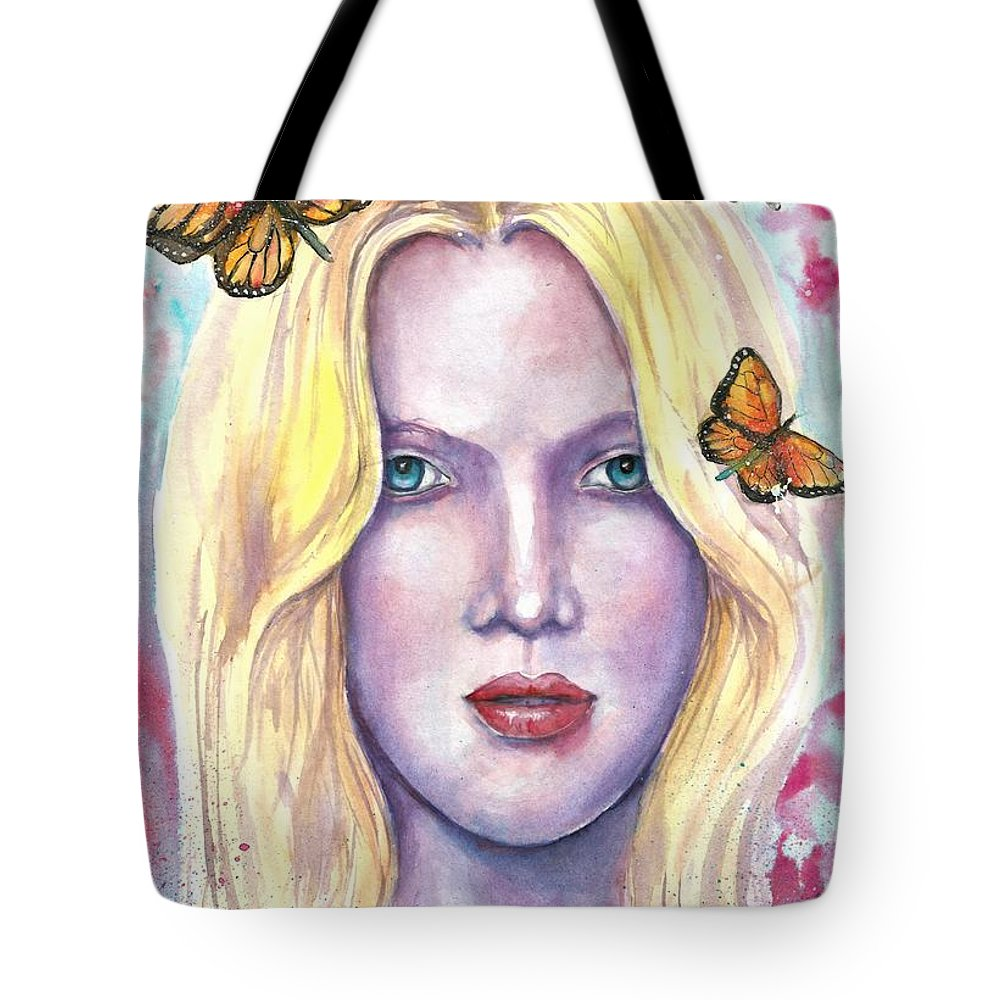 Original Painting Tote Bag featuring the painting Women Face beauty by Natalja Picugina