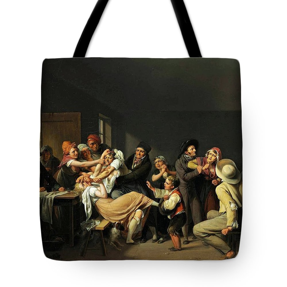 Louis Léopold Boilly - Women Fighting 1818 Tote Bag featuring the painting Women Fighting by MotionAge Designs