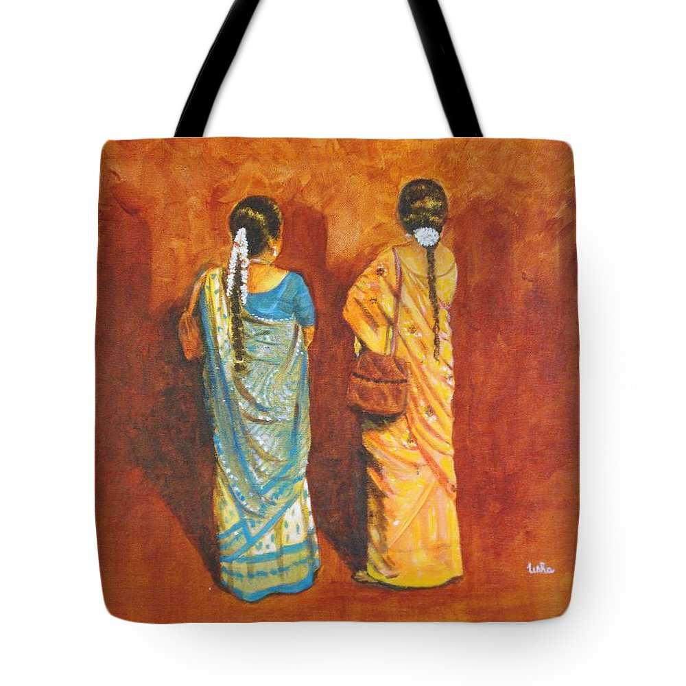 Women Tote Bag featuring the painting Women In Sarees by Usha Shantharam