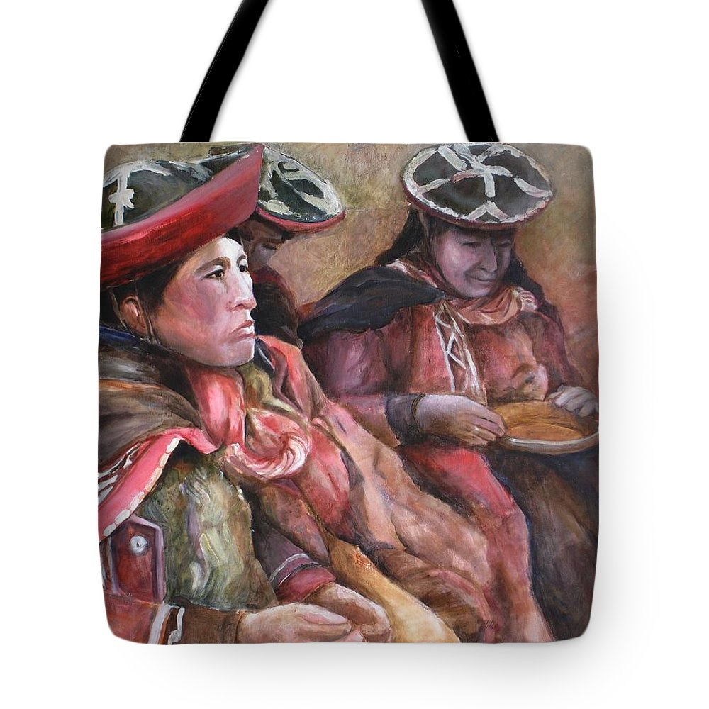 Andes Tote Bag featuring the painting Women Of The Andes by Jun Jamosmos