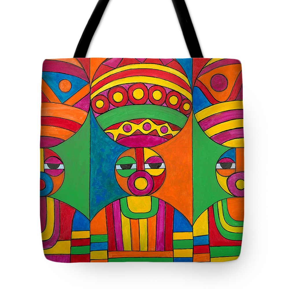 Abstract Tote Bag featuring the painting Women With Calabashes by Emeka Okoro