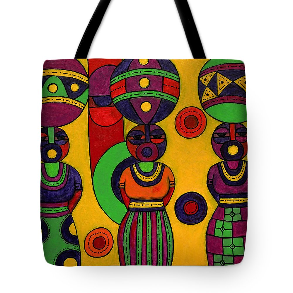 Women Tote Bag featuring the painting Women With Calabashes II by Emeka Okoro