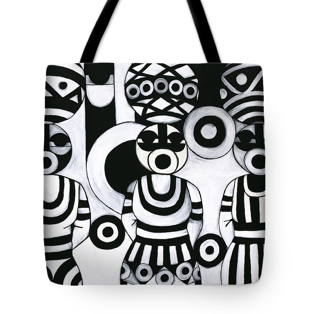 Cubism Tote Bag featuring the painting Women With Calabashes IIi by Emeka Okoro