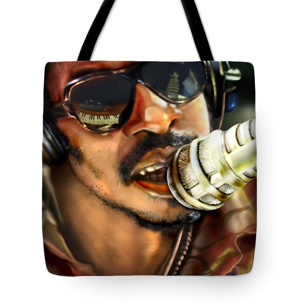 Stevie Wonder Tote Bag featuring the painting Wonder - Seeing Beyond Sight by Reggie Duffie