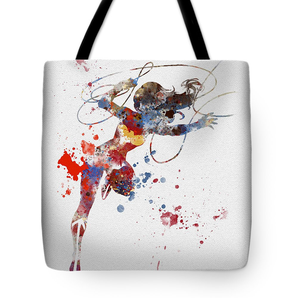 Wonder Woman Tote Bag featuring the mixed media Wonder Woman by My Inspiration