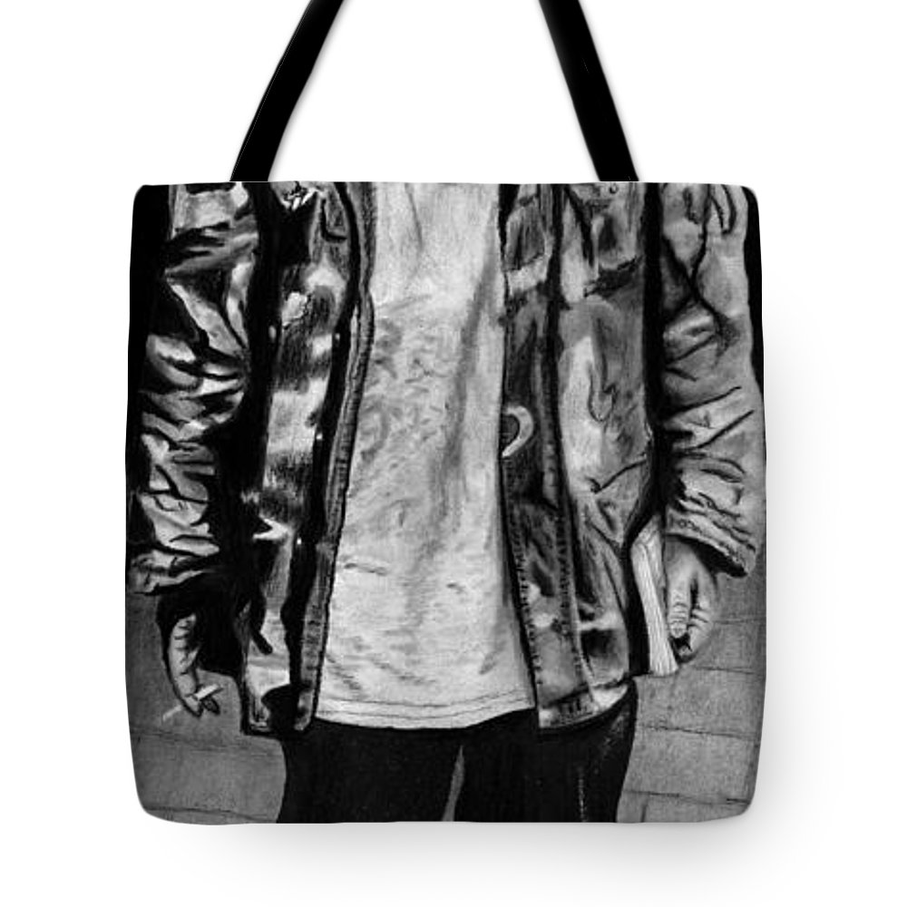Wondering Soldier Tote Bag featuring the drawing Wondering Soldier by Peter Piatt