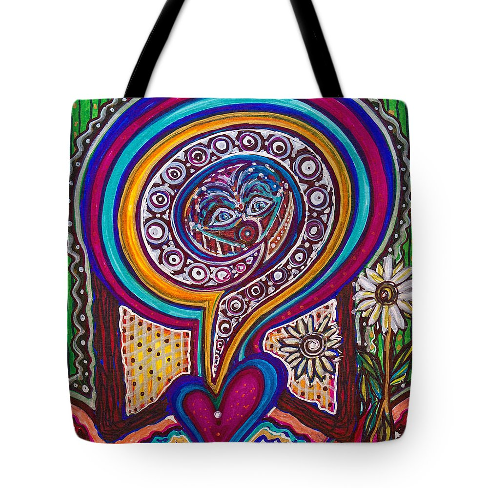 Heart Tote Bag featuring the painting Wondering What's Next - V by Laurel Rosenberg