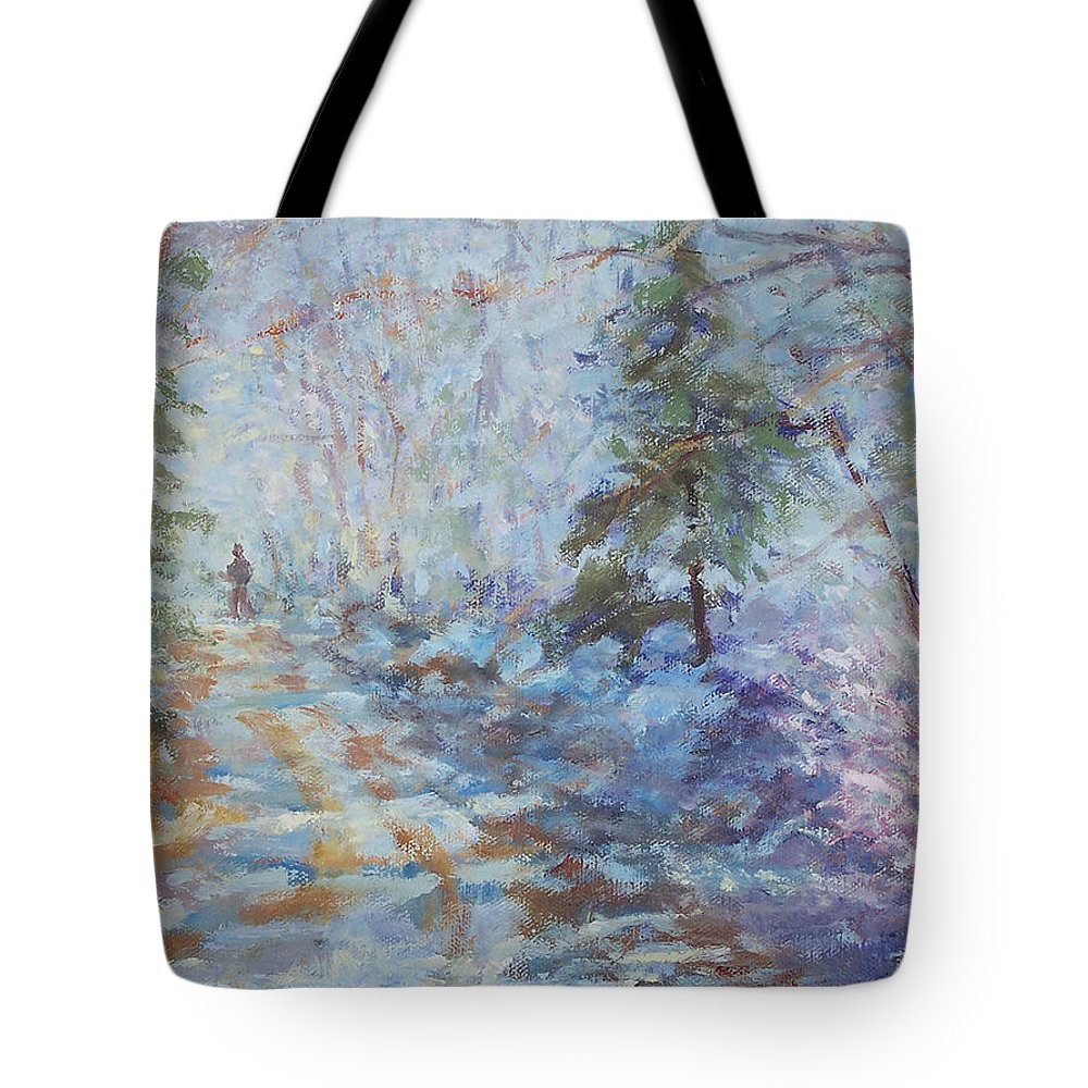 Winter Tote Bag featuring the painting Wonderland by Alicia Drakiotes