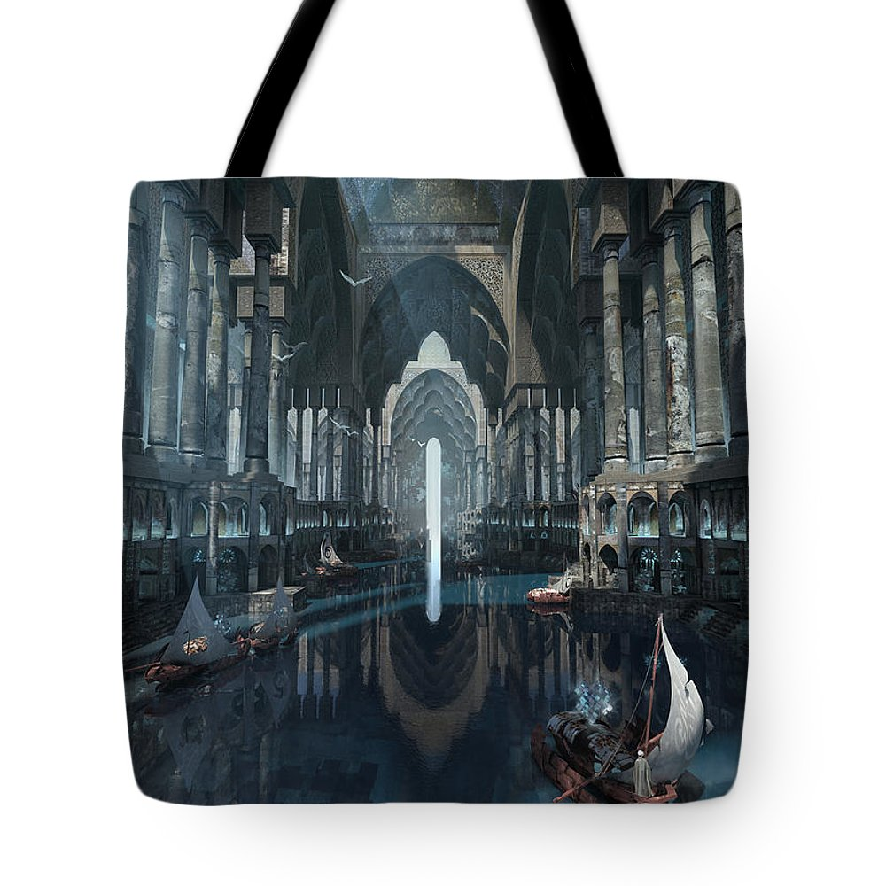 Landscape Tote Bag featuring the digital art Wonders The Canal Of Isfahan by Te Hu