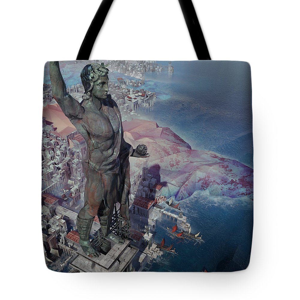Landscape Tote Bag featuring the digital art wonders the Colossus of Rhodes by Te Hu