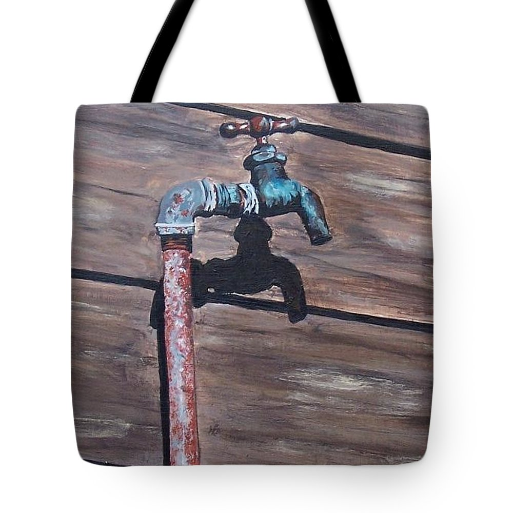 Still Life Metal Old Wood Tote Bag featuring the painting Wood And Metal by Natalia Tejera
