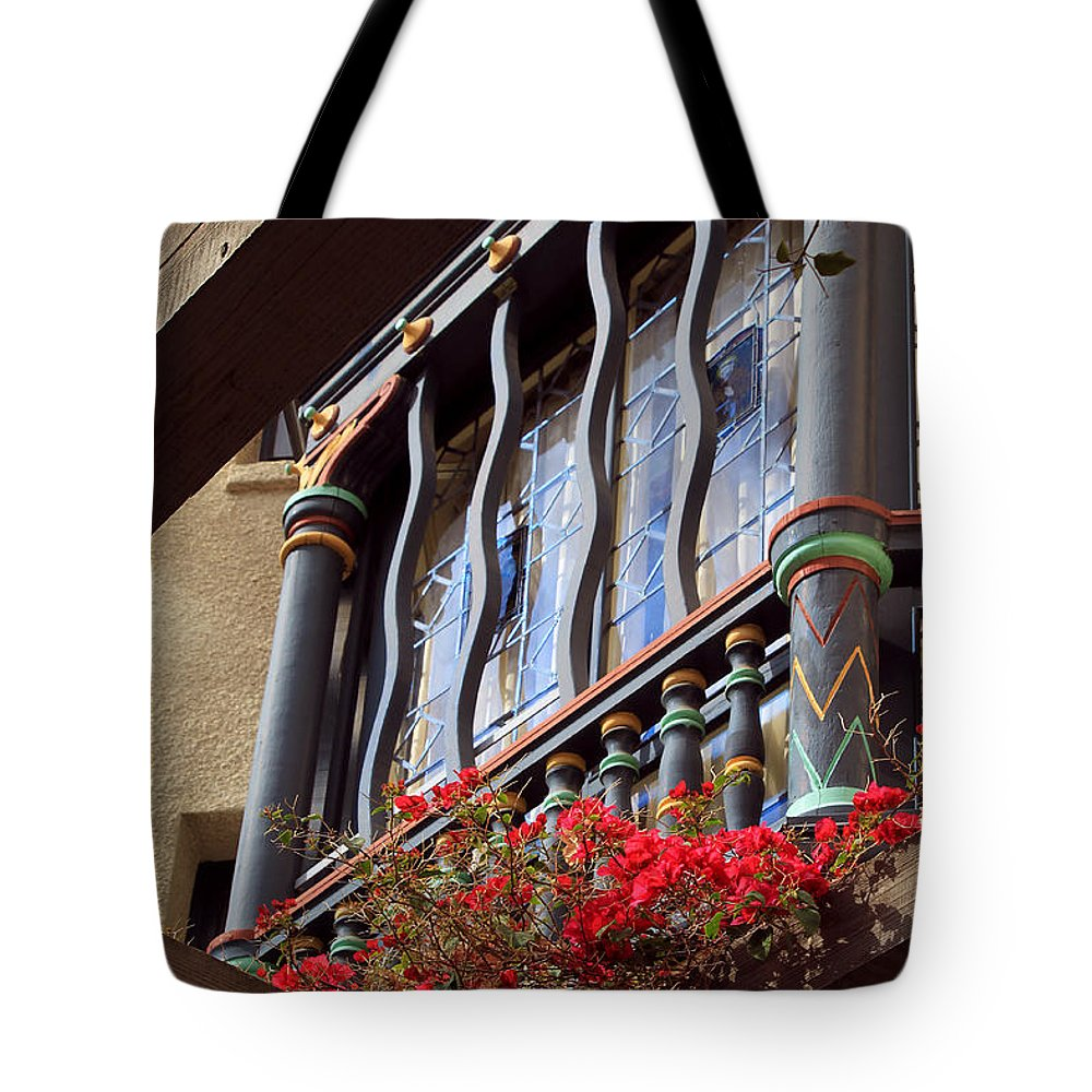 Architectural Tote Bag featuring the photograph Wood Beams Red Flowers And Blue Window by James Eddy