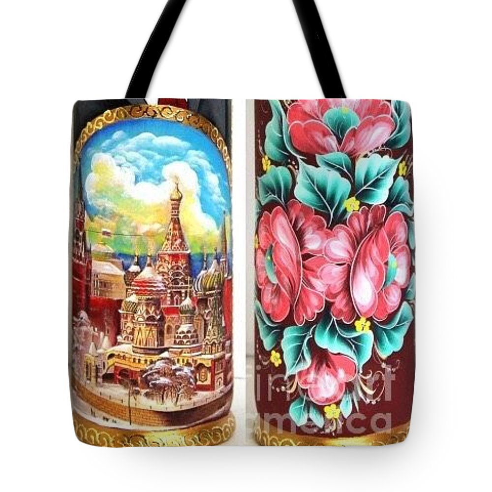 Free Shipping Russian Wood Bottle Case Hand Painted Wood Art Putin President Bottle Case Hand Curved Wood Original Gift Tote Bag featuring the digital art Wood Bottle Case by Viktoriya Sirris