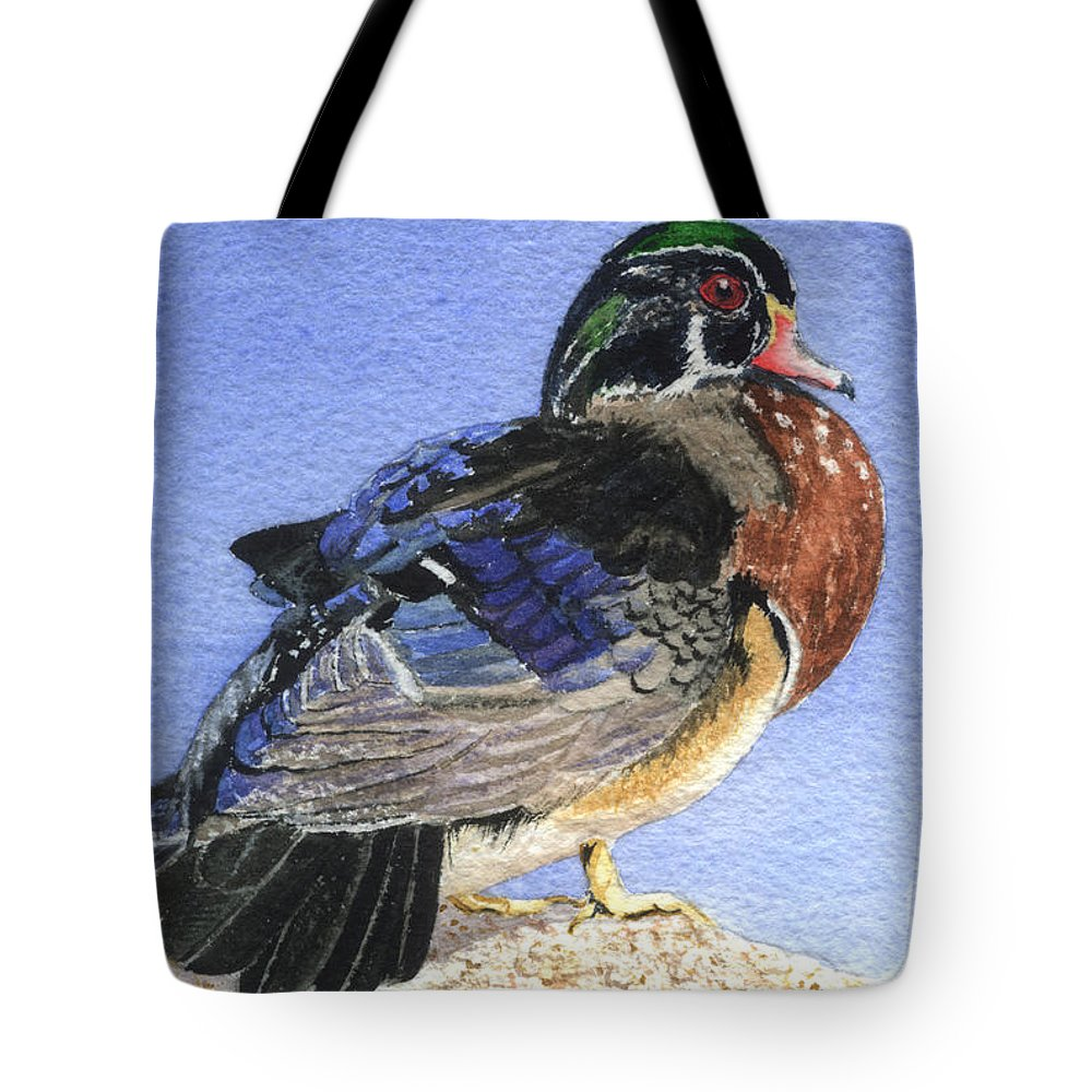 Duck Tote Bag featuring the painting Wood Duck by Lynn Quinn