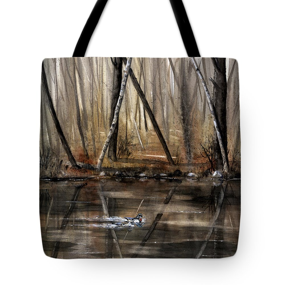 Nature Tote Bag featuring the painting Wood Duck On Pond by Mary Tuomi