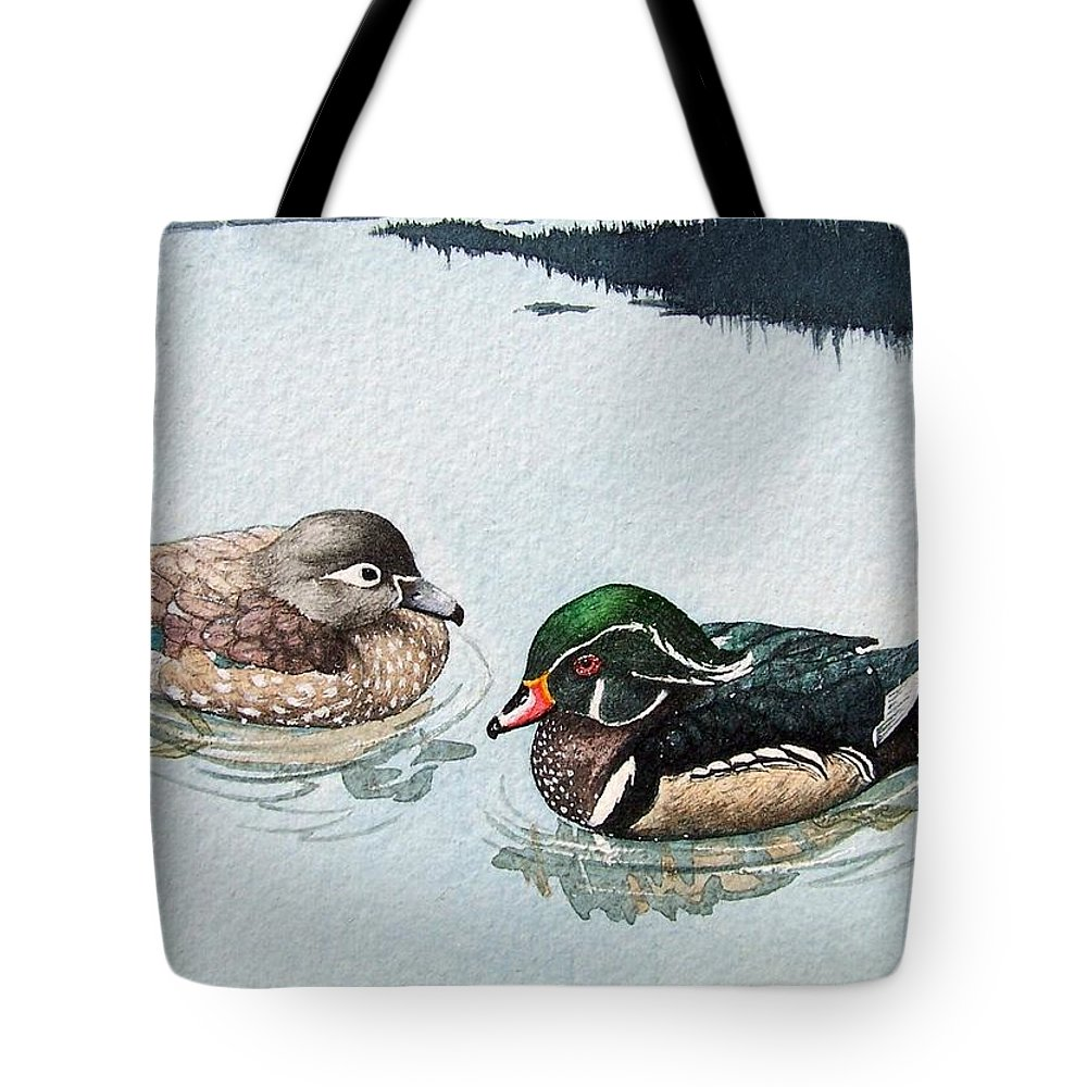 Ducks Tote Bag featuring the painting Wood Ducks by Gale Cochran-Smith