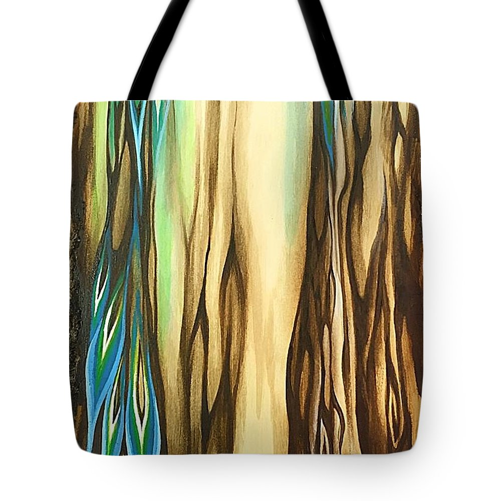 Wood Tote Bag featuring the painting Wood On The Inside by Vesna Delevska