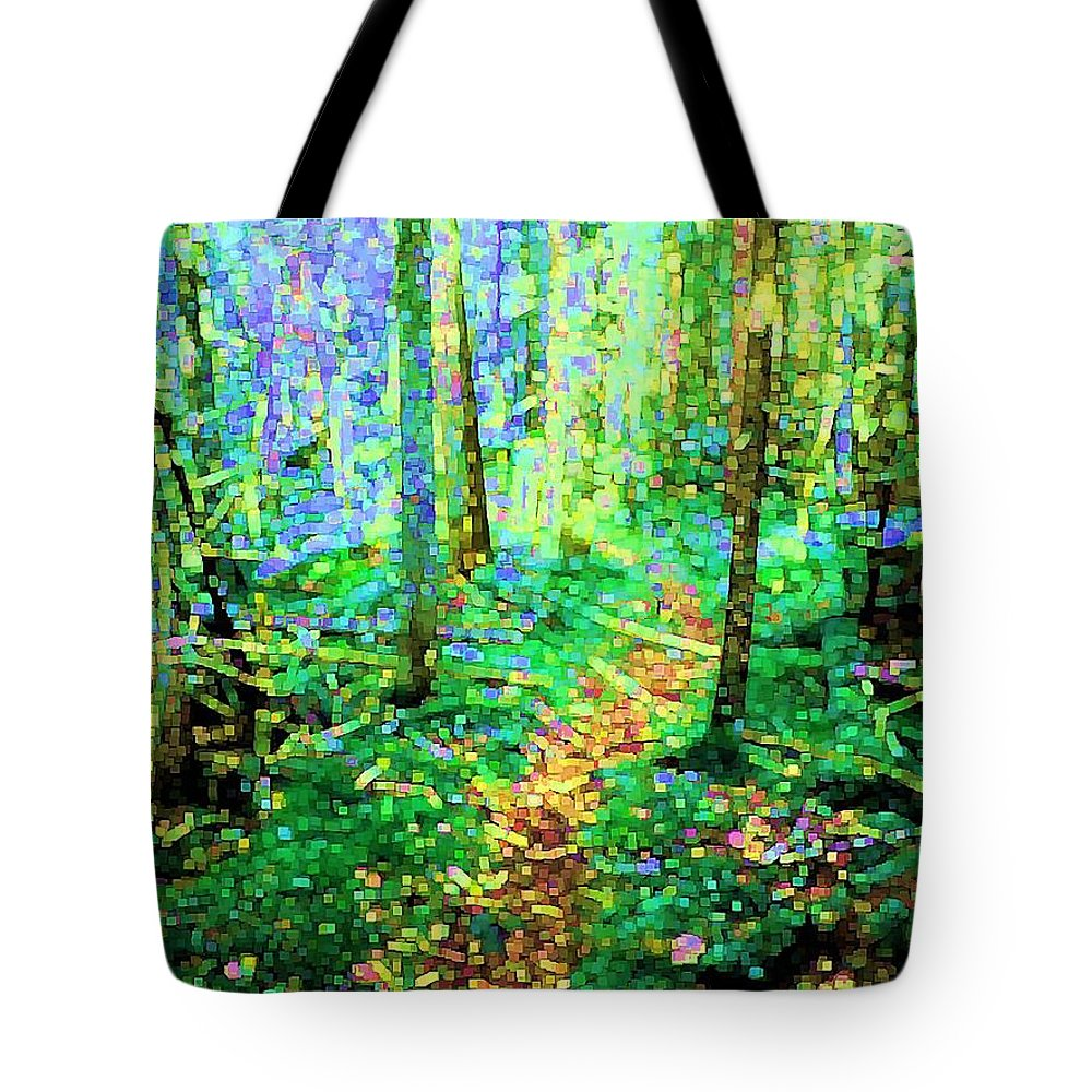 Nature Tote Bag featuring the digital art Wooded Trail by Dave Martsolf