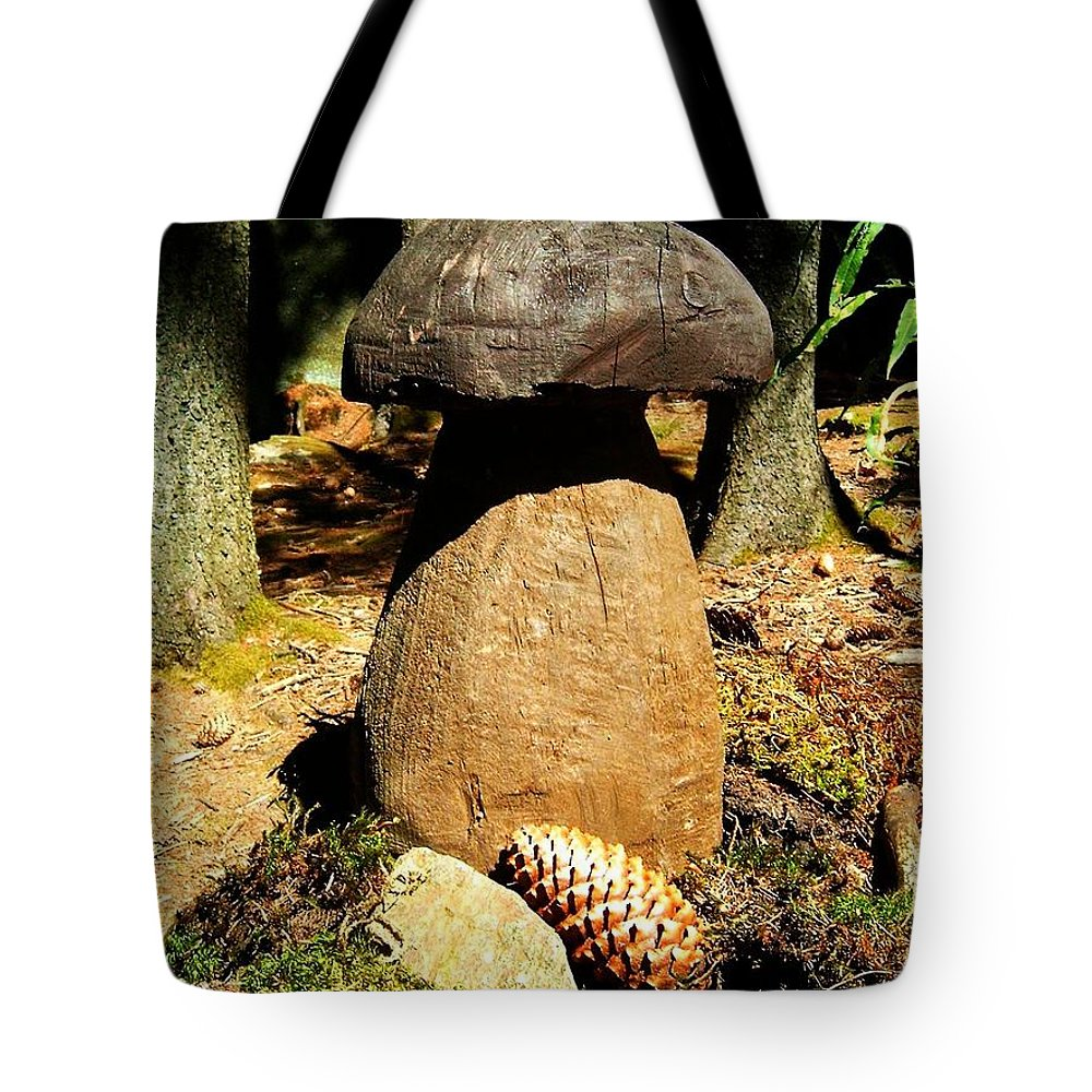 Mushroom Tote Bag featuring the photograph Wooden Art by Juergen Weiss