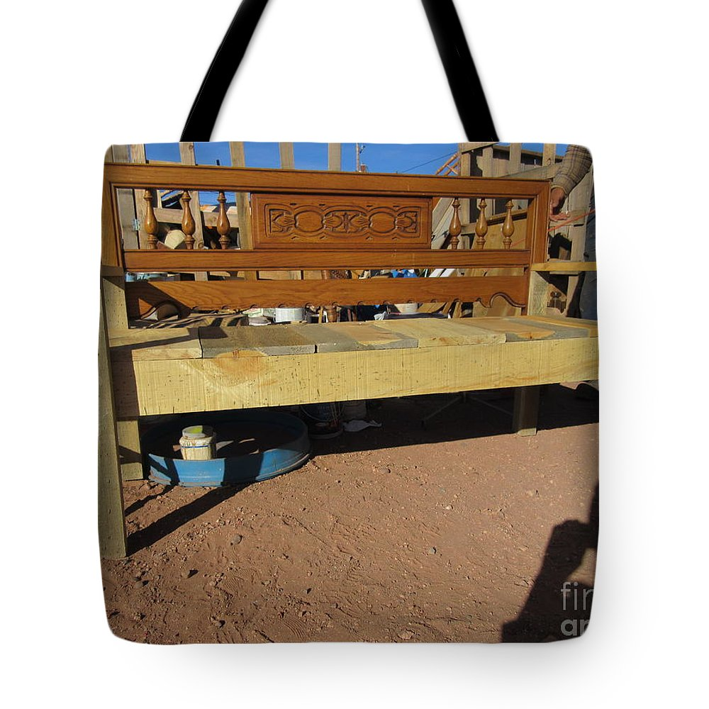 Wooden Tote Bag featuring the photograph Wooden Bench by Frederick Holiday