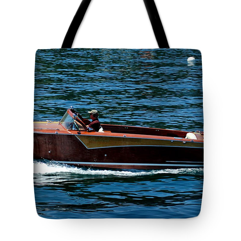 Usa Tote Bag featuring the photograph Wooden Boat Waves On Tahoe by LeeAnn McLaneGoetz McLaneGoetzStudioLLCcom