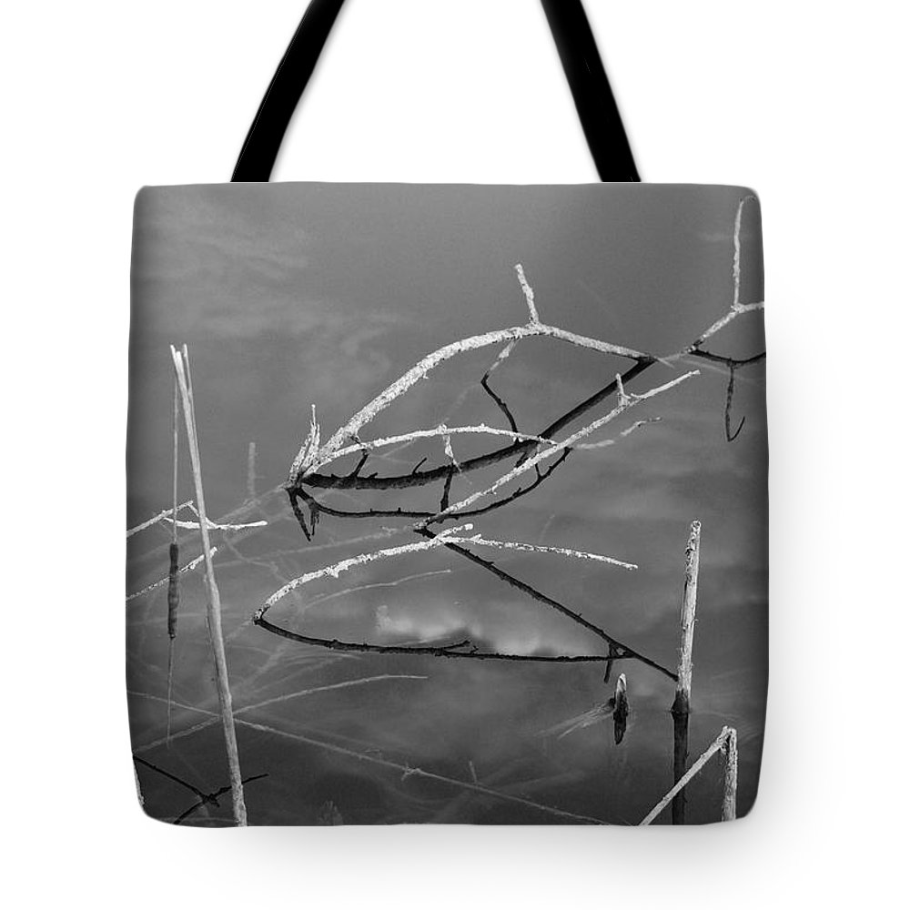 Black And White Tote Bag featuring the photograph Wooden Bridge by Rob Hans