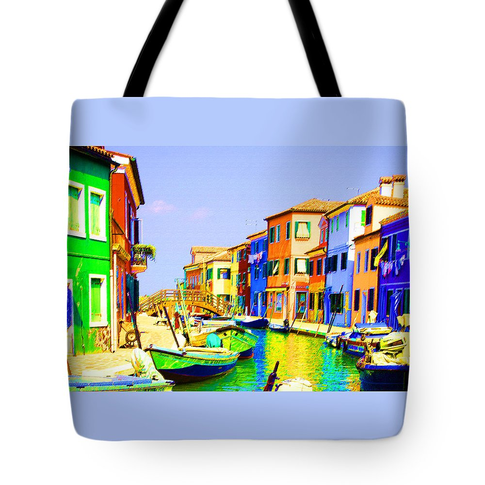 Burano Tote Bag featuring the pastel Wooden Bridge To Despar by Donna Corless