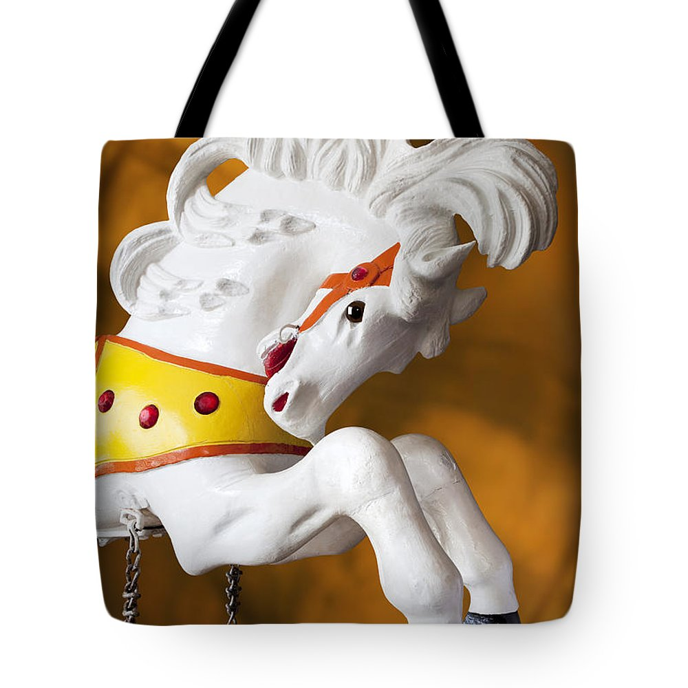 Merry Go Round Tote Bag featuring the photograph Wooden Horse 1 by Kelley King