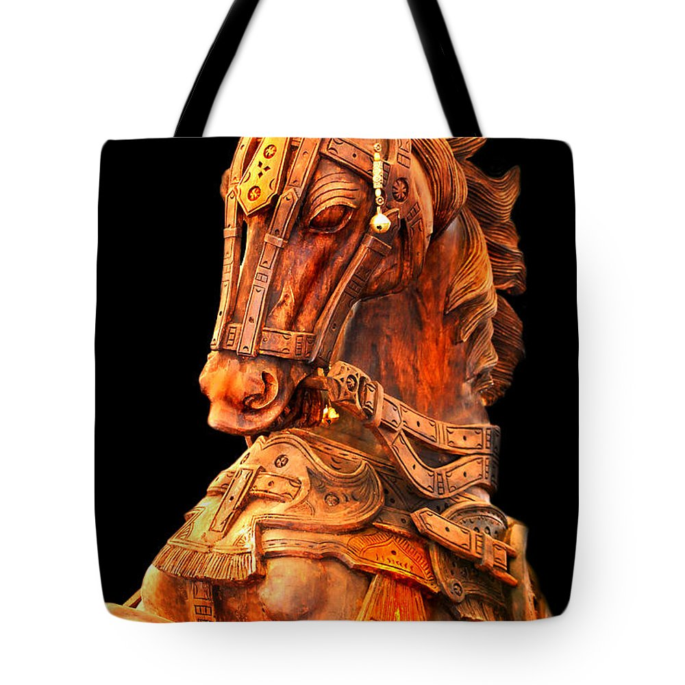 Horse Tote Bag featuring the photograph Wooden Horse by Charuhas Images