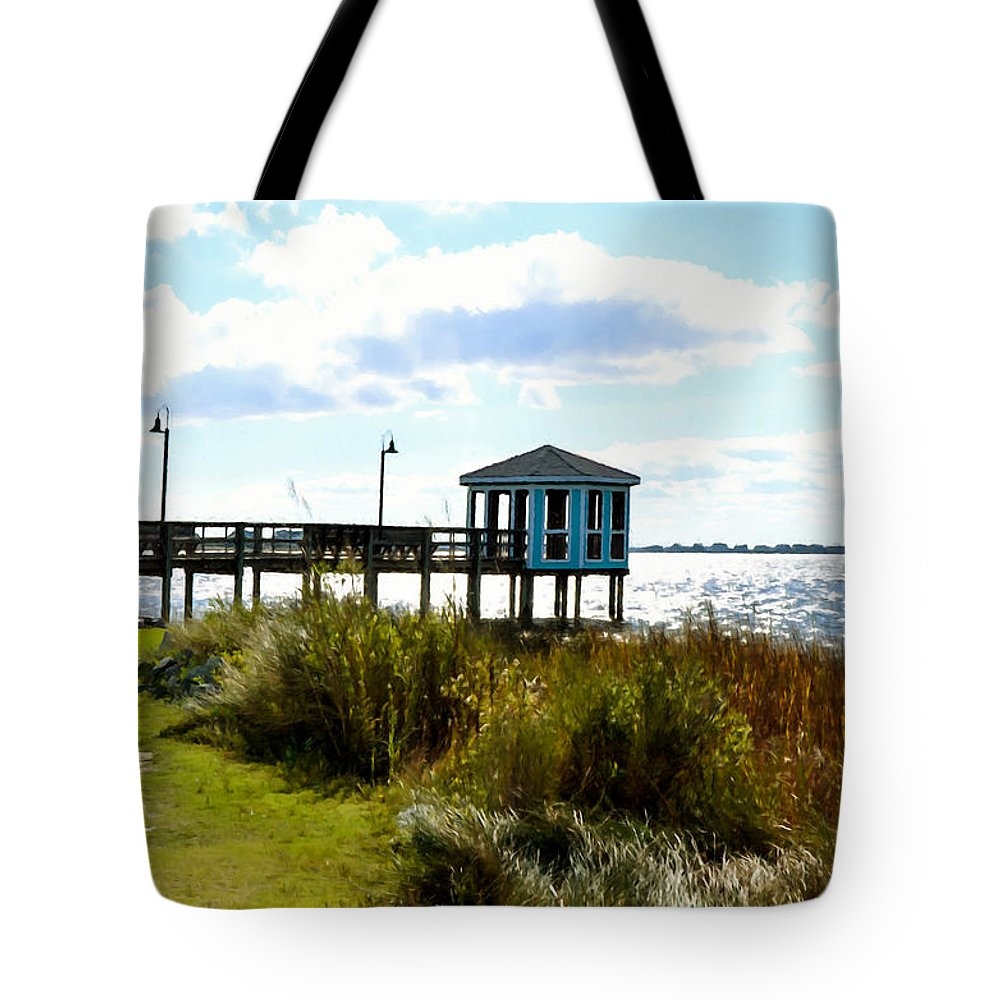 Wooden Pier With Pavilion Tote Bag featuring the painting Wooden Pier With Pavilion by Jeelan Clark