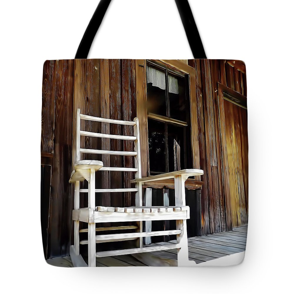 Rocker Tote Bag featuring the photograph Wooden Rocker by D Hackett