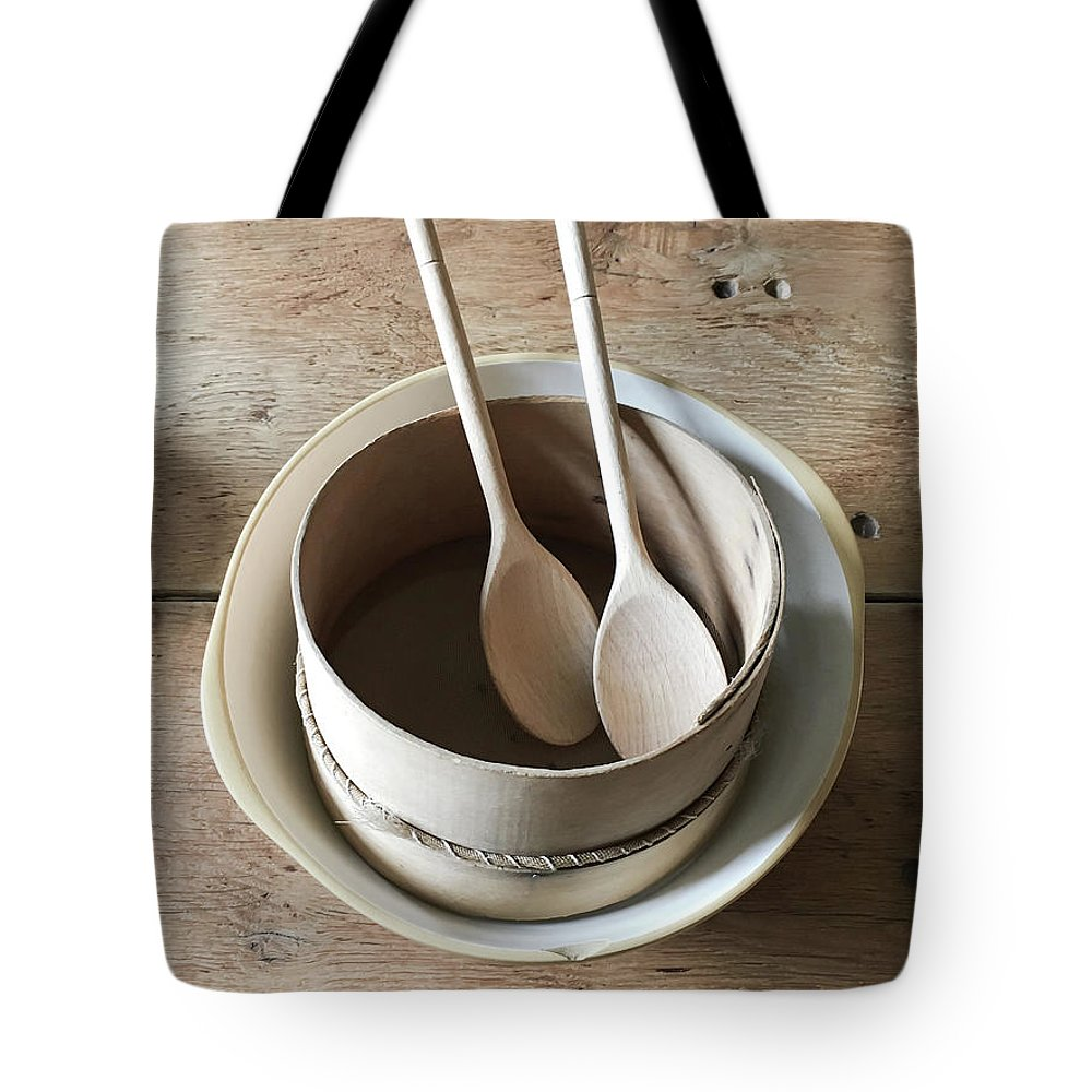 Antique Tote Bag featuring the photograph Wooden Spoons by Tom Gowanlock