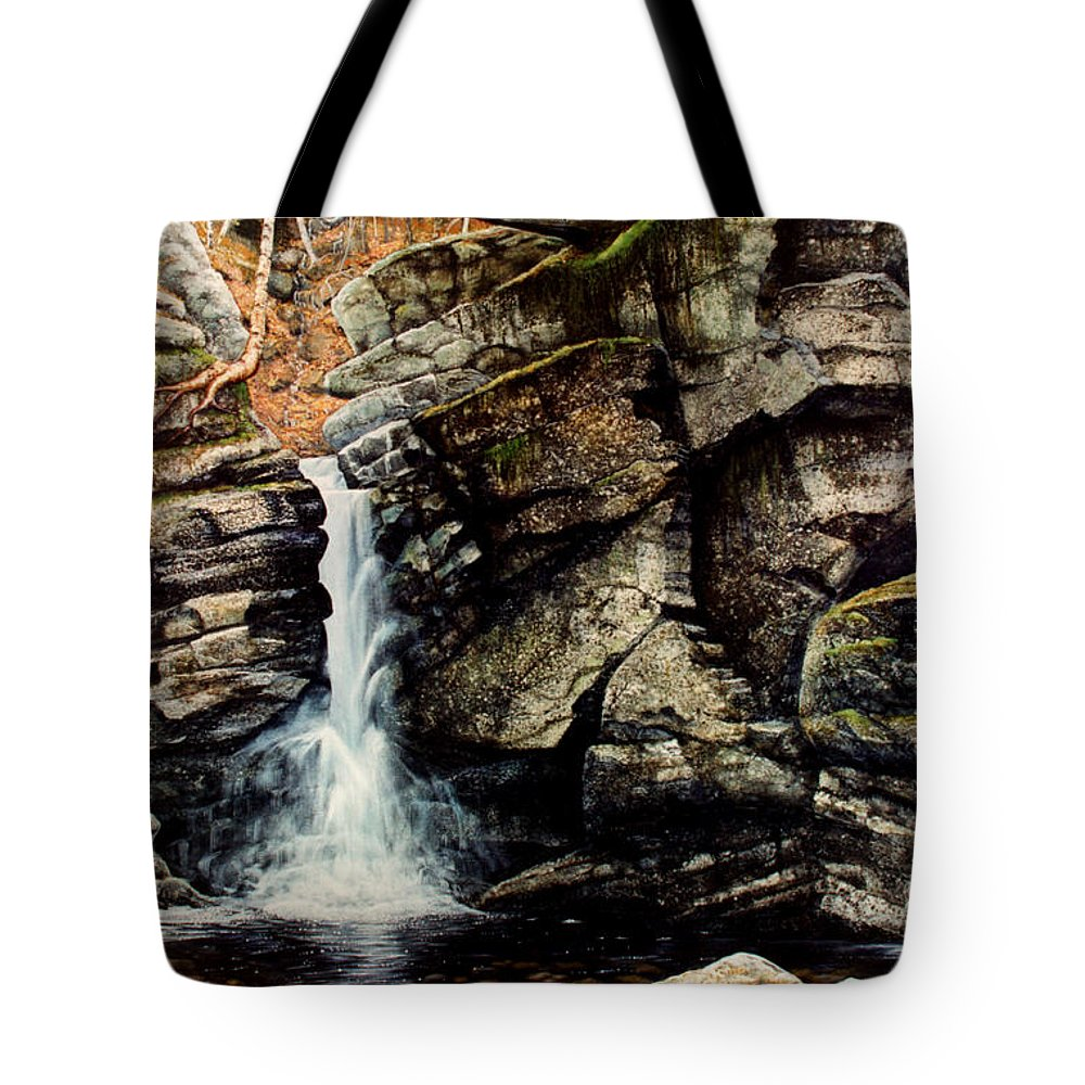 Waterfall Tote Bag featuring the painting Woodland Falls by Frank Wilson