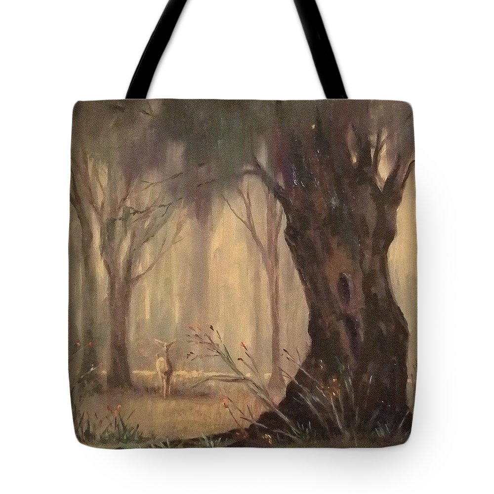 Landscape Tote Bag featuring the painting Woodland Fawn by Ruth Stromswold