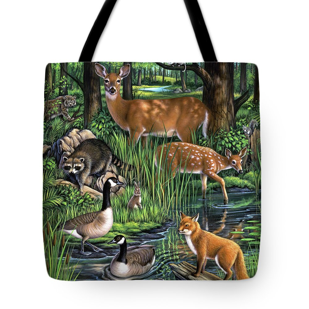 Animals Tote Bag featuring the painting Woodland by Jerry LoFaro
