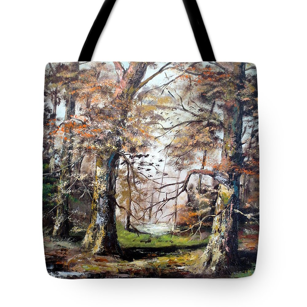 Woods Tote Bag featuring the painting Woodland Pond by Lee Piper