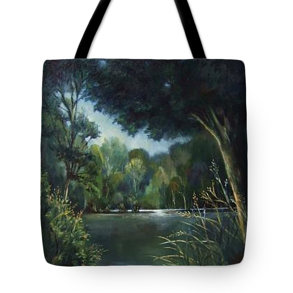 Landscape Woodland Tote Bag featuring the painting Woodland Pond by Ruth Stromswold