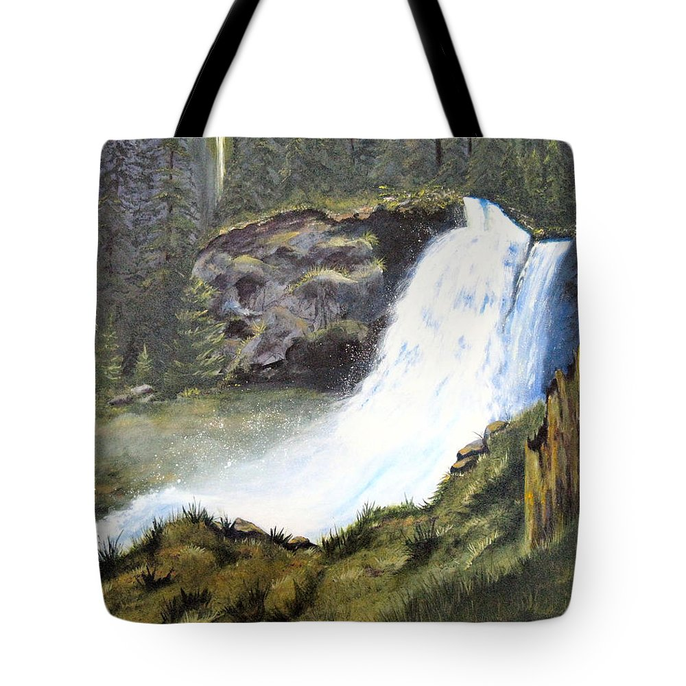Forest Tote Bag featuring the painting Woodland Respite by Karen Stark