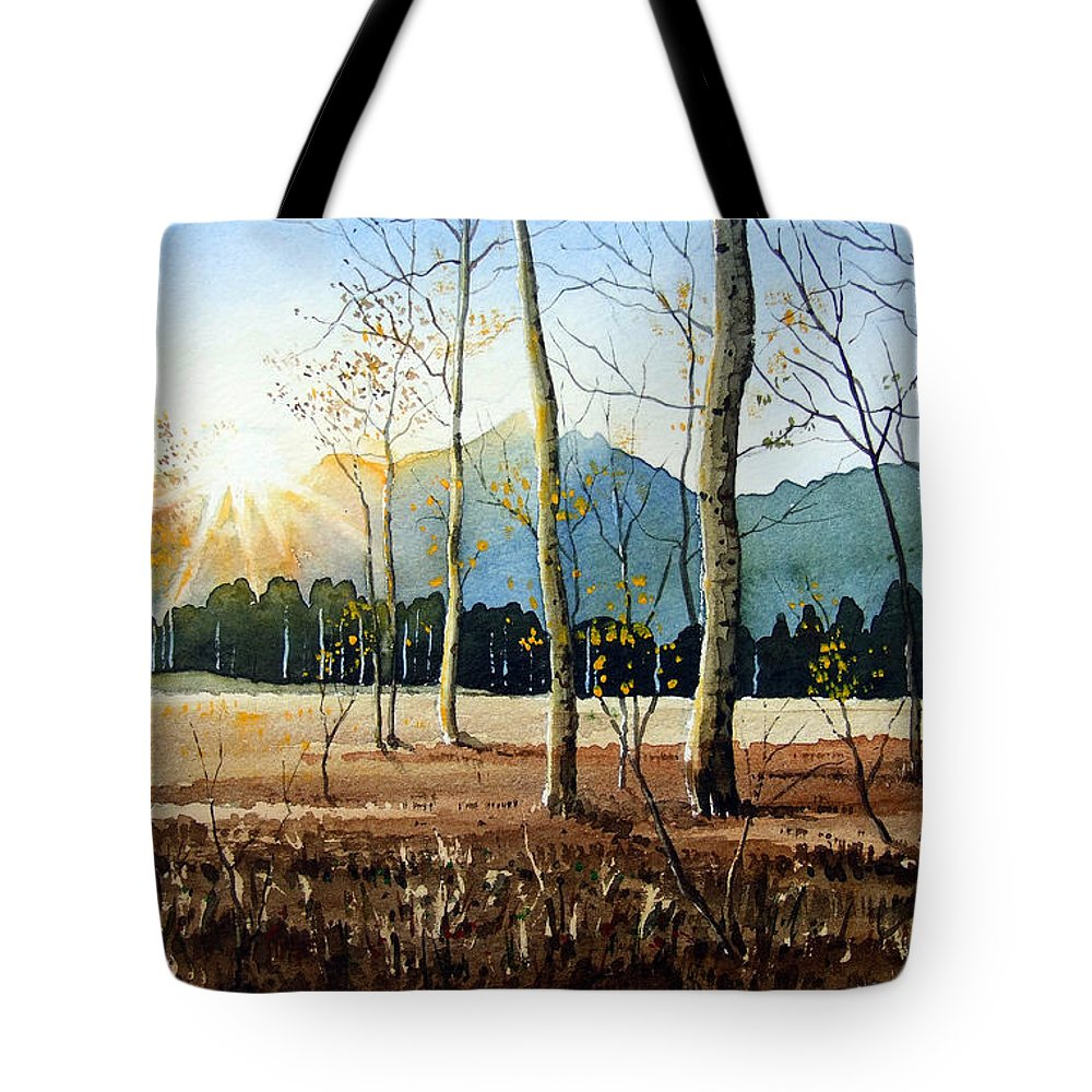 Landscape Tote Bag featuring the painting Woodland Sunset by Paul Dene Marlor
