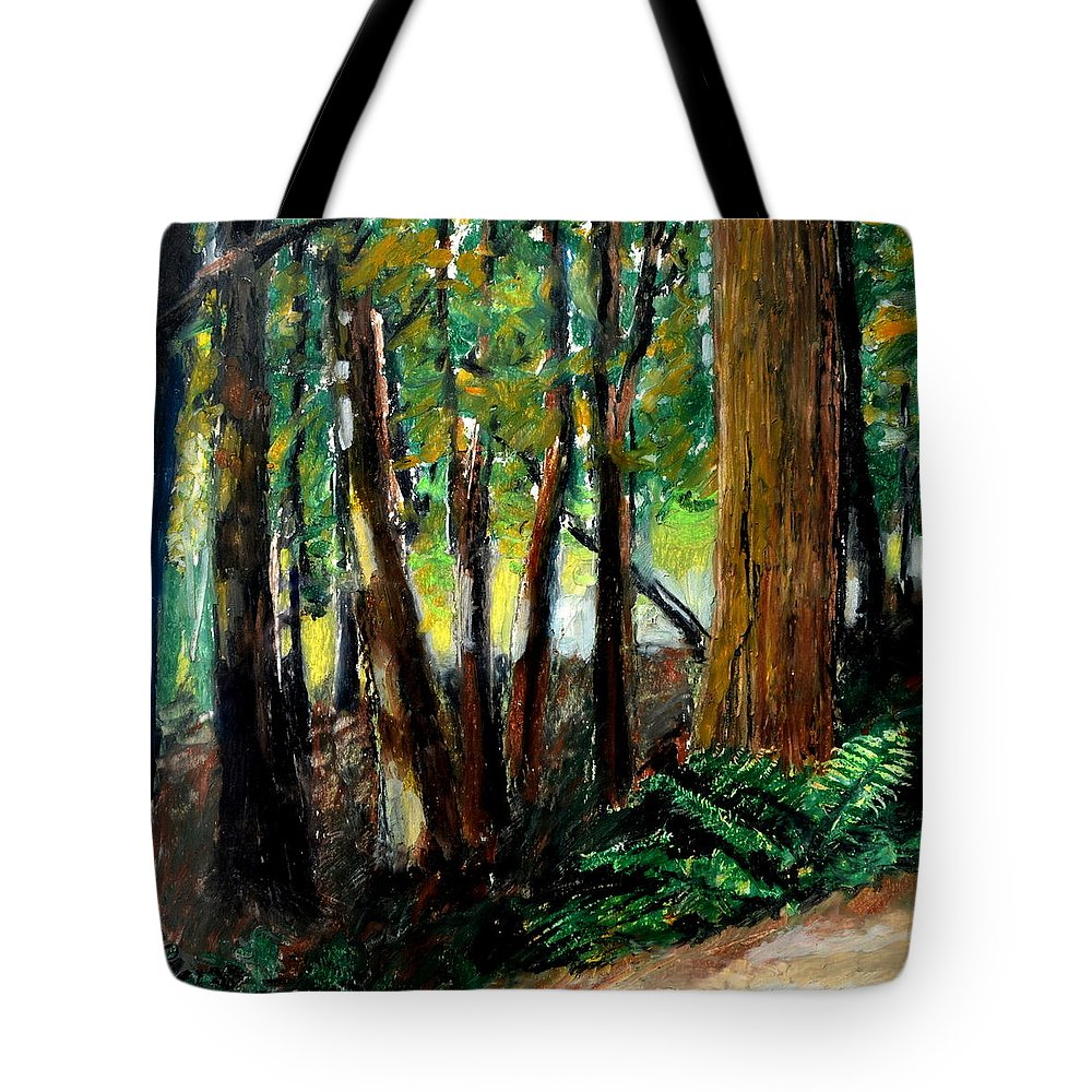 Livingston Trail Tote Bag featuring the drawing Woodland Trail by Michelle Calkins