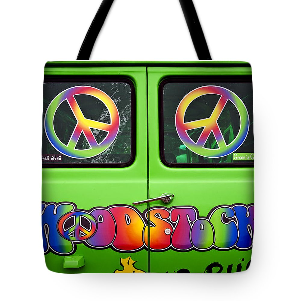 Woodstock Tote Bag featuring the photograph Woodstock Hippie Van by Glenn Gordon