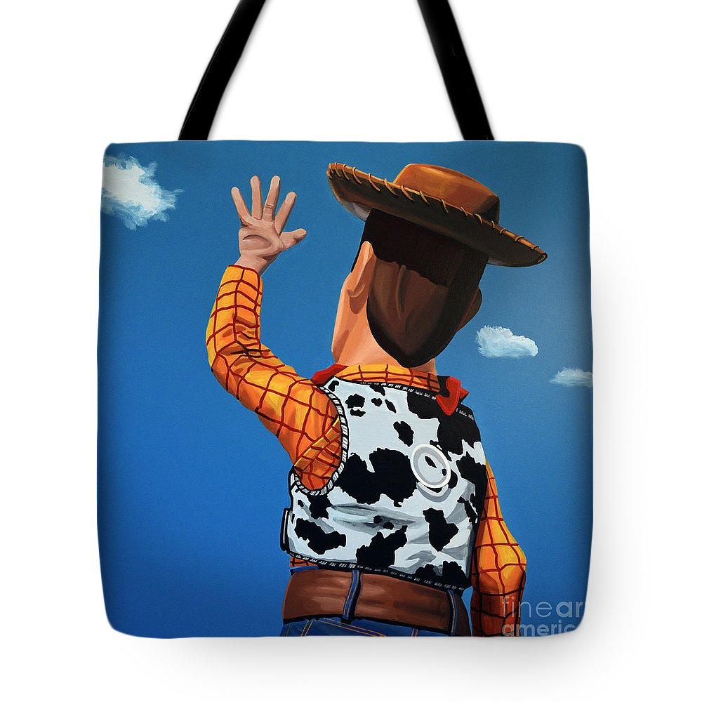 Toy Story Tote Bag featuring the painting Woody Of Toy Story by Paul Meijering