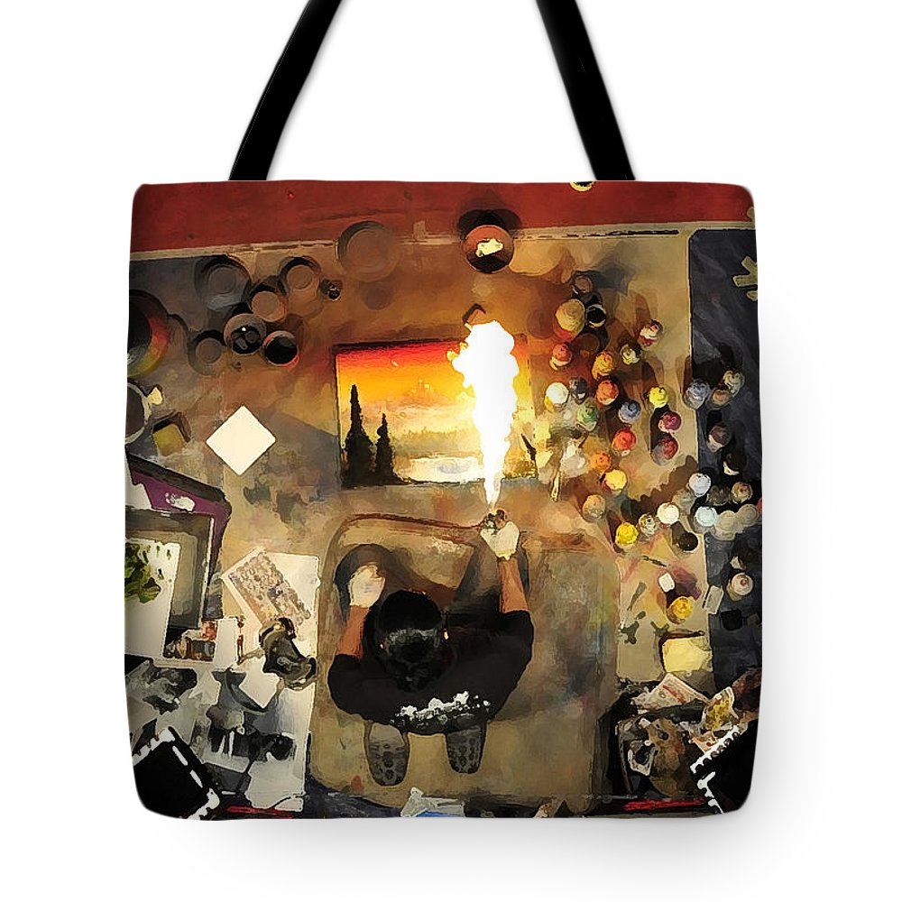 Art Tote Bag featuring the painting Working Artist by David Lee Thompson