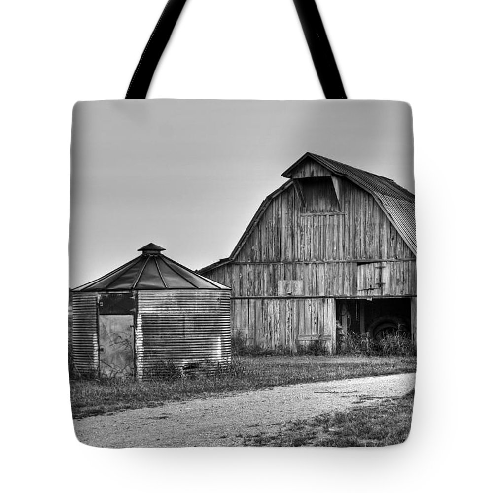 Working Tote Bag featuring the photograph Working Farm Barn And Storage Bin by Douglas Barnett