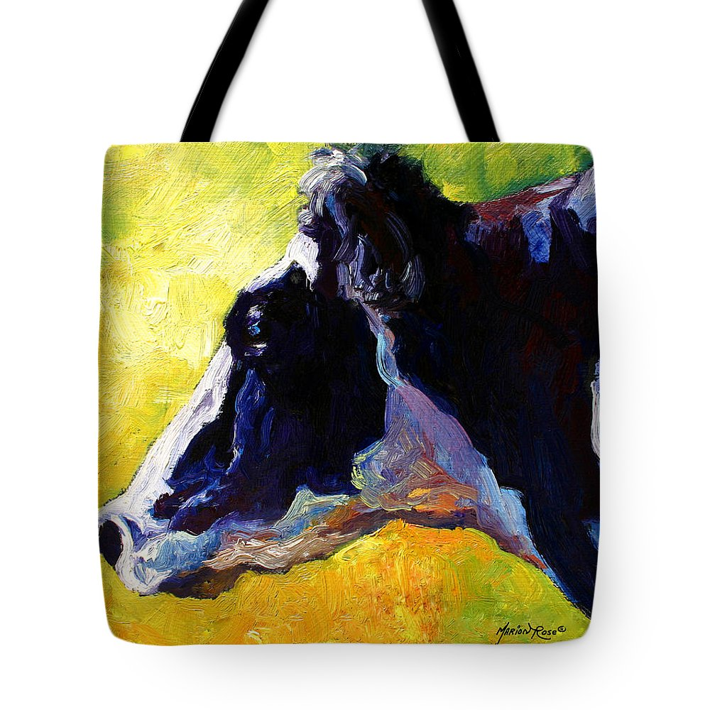 Western Tote Bag featuring the painting Working Girl - Holstein Cow by Marion Rose