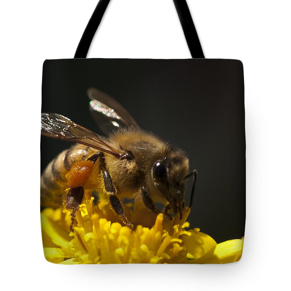 Bee Tote Bag featuring the photograph Working The Flower by Dennis Reagan