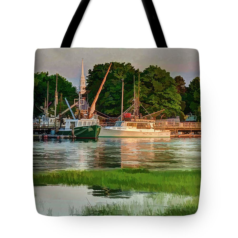 New England Tote Bag featuring the photograph Working Waterfront by Dave Thompsen